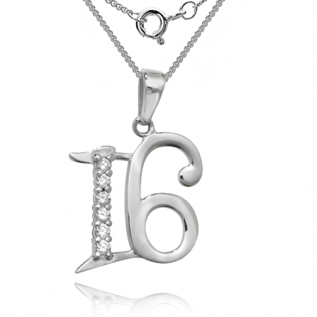 16th Birthday Necklace, CZ & Sterling Silver