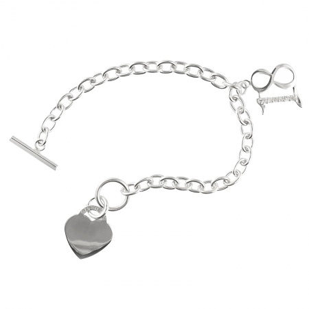 18th Birthday CZ T-Bar Sterling Silver Heart Bracelet (can be personalised)