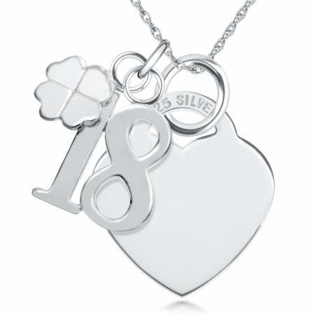 18th Birthday Sterling Silver Heart Necklace (can be personalised)