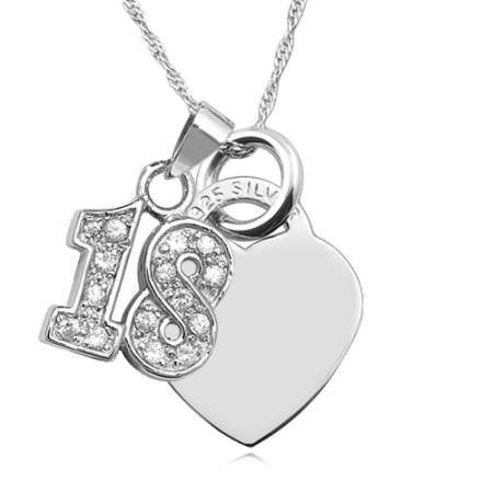 18th Birthday Heart & Cubic Zirconia Number 18 Sterling Silver Necklace (can be personalised)