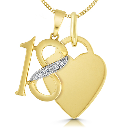 18th Birthday Heart Necklace, Personalised, 9ct Yellow Gold
