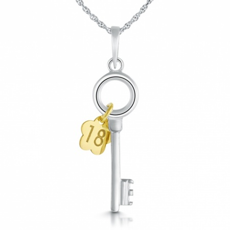 18th Birthday Key Necklace, Sterling Silver, Gold Plated Flower