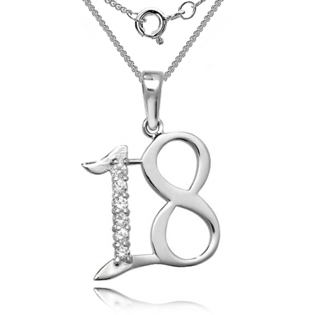 18th Birthday Necklace, CZ & Sterling Silver