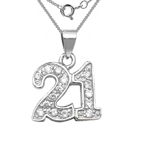 21st Birthday Necklace, Cubic Zirconia & Sterling Silver