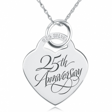 25th Anniversary Necklace, Personalised, Sterling Silver, Wedding
