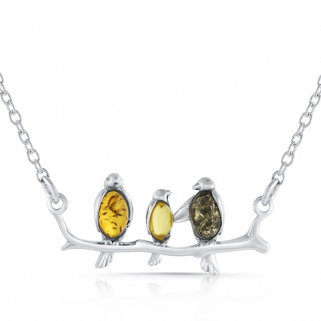 3 Birds on a Branch Necklace, Mixed Amber & Sterling Silver