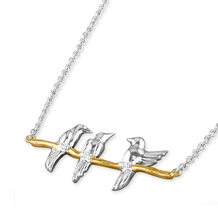 3 Love Birds on Branch Necklace, 925 Sterling Silver with Gold Plating