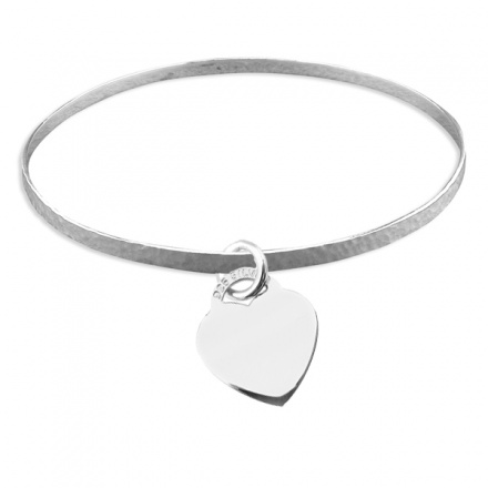 Ladies Hammered Flat Slave Sterling Silver Bangles with Heart (can be personalised)