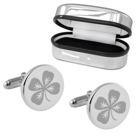 Four Leaf Clover Round Sterling Silver Cufflinks (can be personalised)