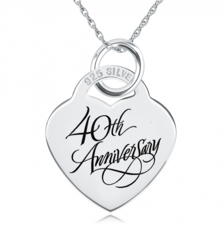 40th Anniversary Necklace, Personalisation Available, Sterling Silver, Heart Shaped