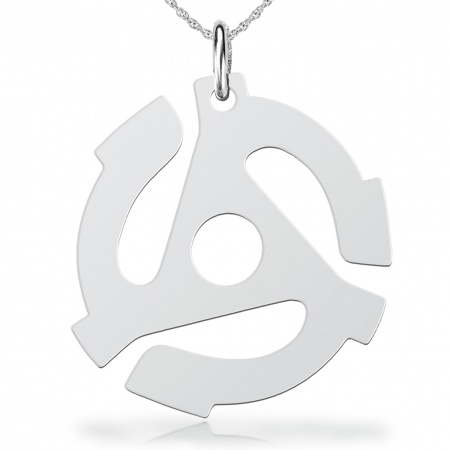 45 rpm Record Adapter Necklace, Sterling Silver, Unisex