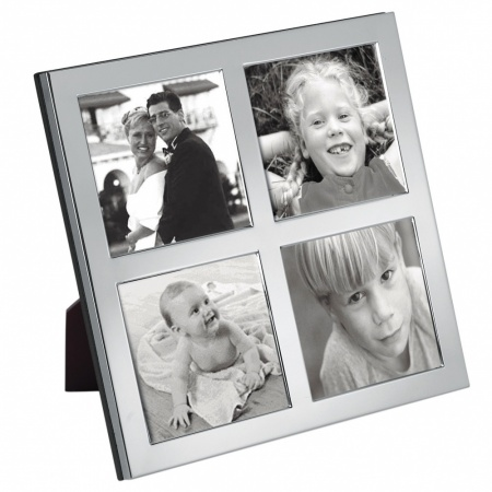 4 Photo Photo Frame, Personalised, Sterling Silver, Photo Size 6 x 6 inches x 4