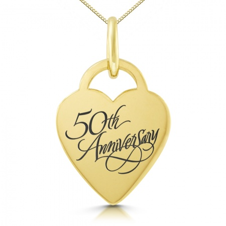 50th Anniversary Heart Necklace, Personalised, 9ct Gold, Yellow
