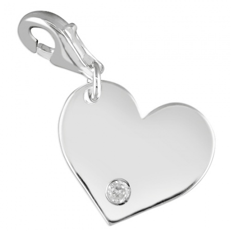 Heart Charm, Personalised, Cubic Zirconia & Sterling Silver