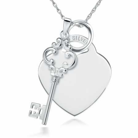 Key & Heart Necklace, Free Engraving & Delivery, Sterling Silver, Ladies