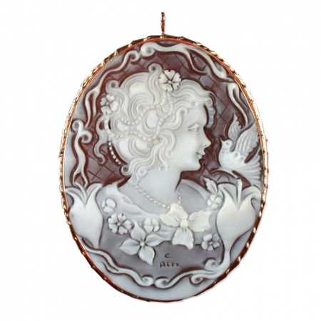 9ct Gold 70mm Cameo Brooch