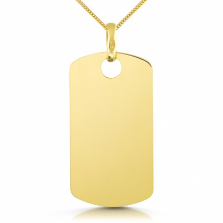 9ct Yellow Gold Dog Tag, Small Single (can be personalised)