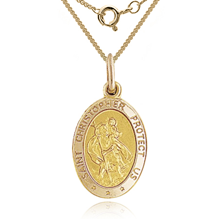 St Christopher Protect Us Small Medallion 9ct Yellow Gold (can be personalised)