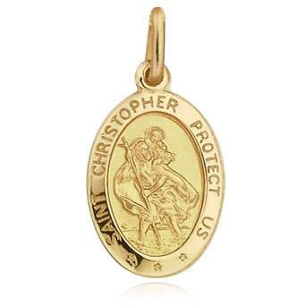 St Christopher Protect Us Pendant 9ct Yellow Gold (can be personalised)