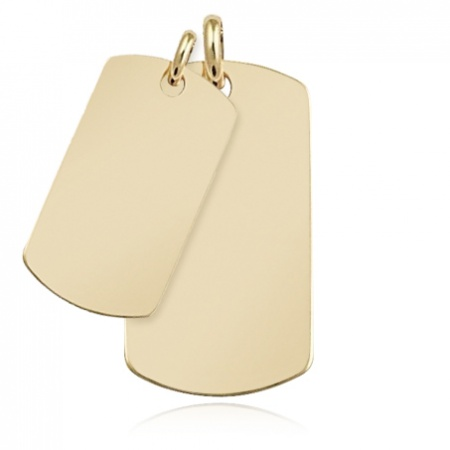 9ct Yellow Gold Double Dog Tags (can be personalised)