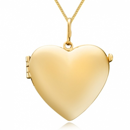 9ct Yellow Gold Heart Locket, Personalised/Engraved