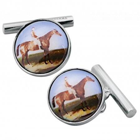 Horse Rider Cufflinks, Colour Enamel & Sterling Silver (Engraving Available)