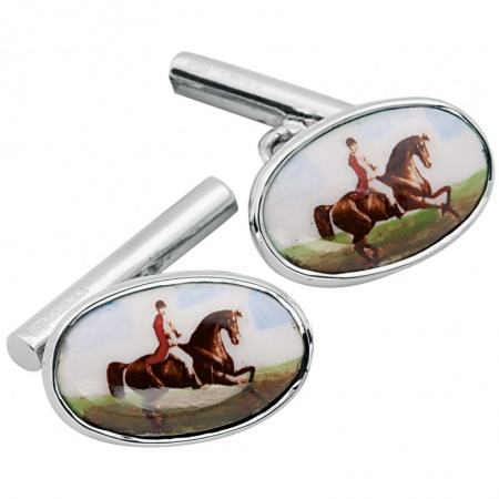 Hunting Horse Cufflinks, Enamel & Sterling Silver (Engraving Available) XOP
