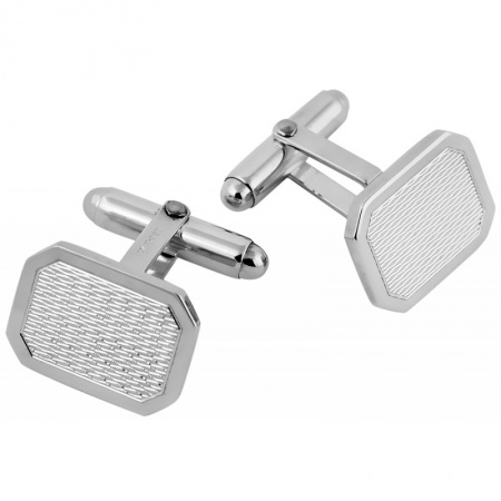 Engine Turned Barley Cufflinks, Rectangle Sterling Silver (Engraving Available)
