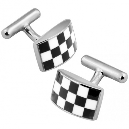 Chequer Board Cufflinks, Sterling Silver (Engraving Available) XOP