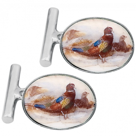 Pheasant Cufflinks, Colour Enamel & Sterling Silver, Free Engraving & Delivery