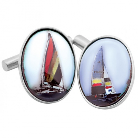 Yacht Cufflinks, Colour Enamel & Sterling Silver (Engraving Available)