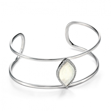 Fiorelli Silver Mother of Pearl Marquise & Pave Clear Cubic Zirconia Bangle