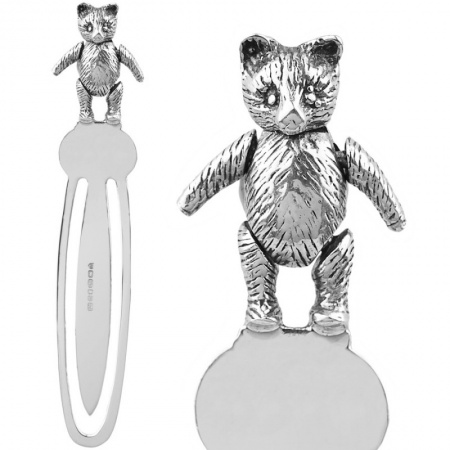 Teddy Bear Bookmark, Movable, Sterling Silver (Engraving Available) XOP