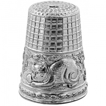 Cat Thimble, Sterling Silver with Gift Box ZOP