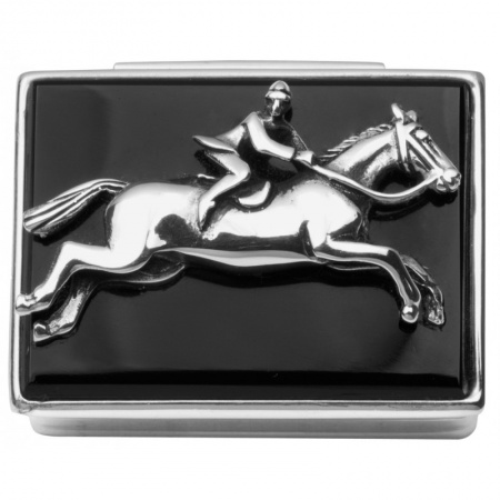 Horserider Pill Box, Onyx & Sterling Silver (can be personalised)