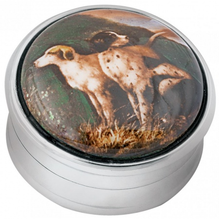 Hunting Dogs Picture Pill Box, Hallmarked Sterling Silver