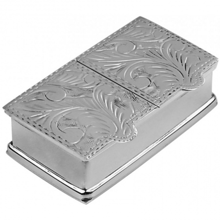 Double Compartment Pill Box, Sterling Silver (Engraving Available) ZOP