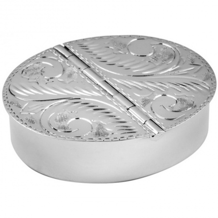 Double Compartment Oval Pill Box, Sterling Silver (Engraving Available) ZOP