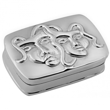 Comedy & Tragedy Trinket Box, Sterling Silver (Engraving Available)
