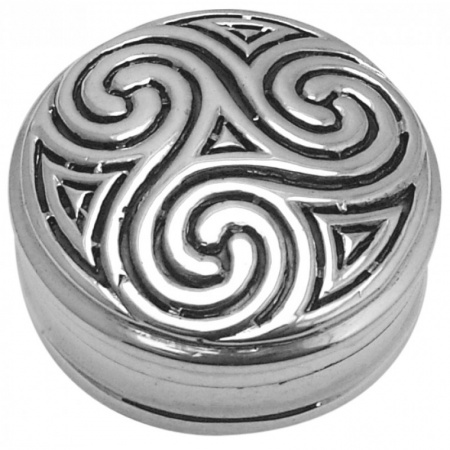 Triskelion Pill Box, Hallmarked Sterling Silver, Celtic