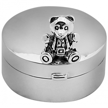 Teddy Bear Pill Box, Hallmarked Sterling Silver, Personalised