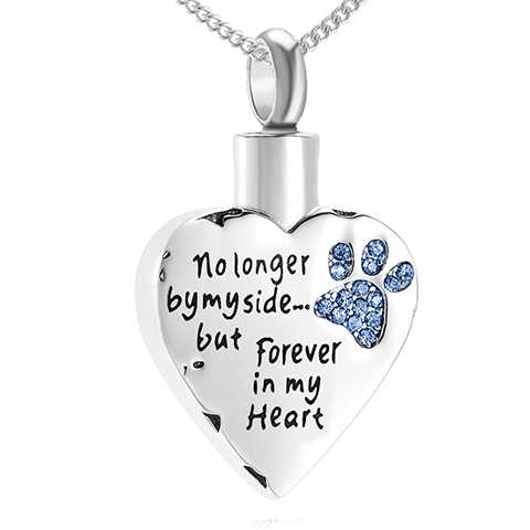 No Longer By My Side, but Forever in My Heart Ashes Cremation Locket Necklace, Blue Crystals