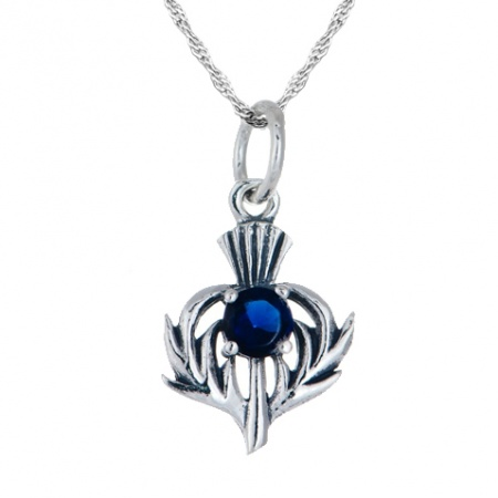 September Birthstone Scottish Thistle Sterling Silver Necklace