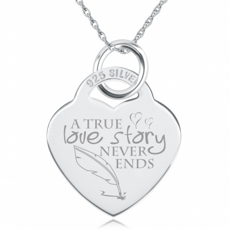 A True Love Story Heart Shaped Sterling Silver Necklace (can be personalised)