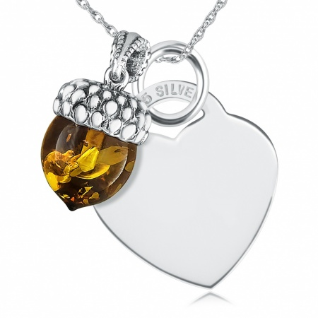 Acorn and Heart Necklace, Personalised, Sterling Silver and Amber