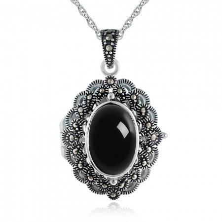 Agate, Marcasite Victorian Style Locket, Sterling Silver