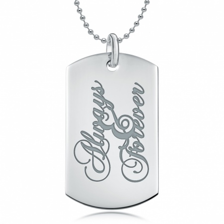 Always and Forever Dog Tag, Personalised, Sterling Silver