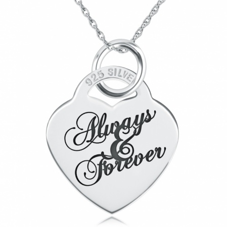 Always & Forever Necklace, Personalised, Sterling Silver, Heart Shaped