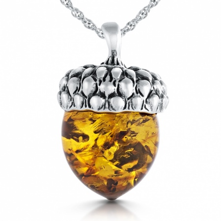 Acorn Necklace, Amber and Sterling Silver