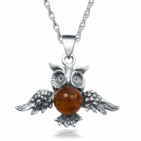Amber Owl Necklace, Sterling Silver, Graduation